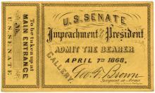 1868 ANDREW JOHNSON U S Senate IMPEACHMENT OF THE PRESIDENT Gallery Admis Ticket