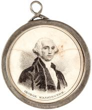 1844 GEORGE WASHINGTON + HENRY CLAY American Nativist Pewter Rim Badge with Loop