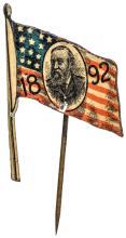 1892 Benjamin Harrison Presidential Election Portrait in American Flag Pin