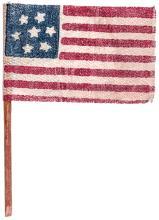 c. 1865 7-Star Confederate States Secession Gauze Cloth Parade Flag w Hand Pole