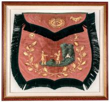 c 1840 Spectacular Masonic Apron Hand-Painted On Silk Indian Offering Peace Pipe