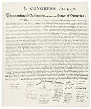 (1843) DECLARATION OF INDEPENDENCE.  Peter Force Printing on Rice Paper