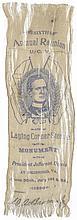 1896 JEFFERSON DAVIS CSA President, Monument Laying of Corner Stone Silk Ribbon