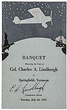 1927 CHARLES A. LINDBERGH Signed Dinner-Banquet Program, Springfield, Vermont