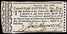 1765 JOHN HANCOCK Signed FANEUIL-HALL LOTTERY Ticket Rarity