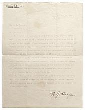 WILLIAM JENNINGS BRYAN, 1900 Typed Letter Signed Rare Bryan Money Content