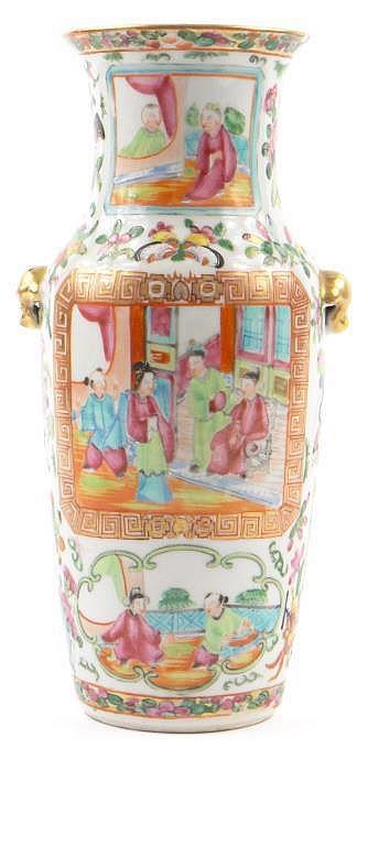 Chinese Canton porcelain vase with gilt animalia