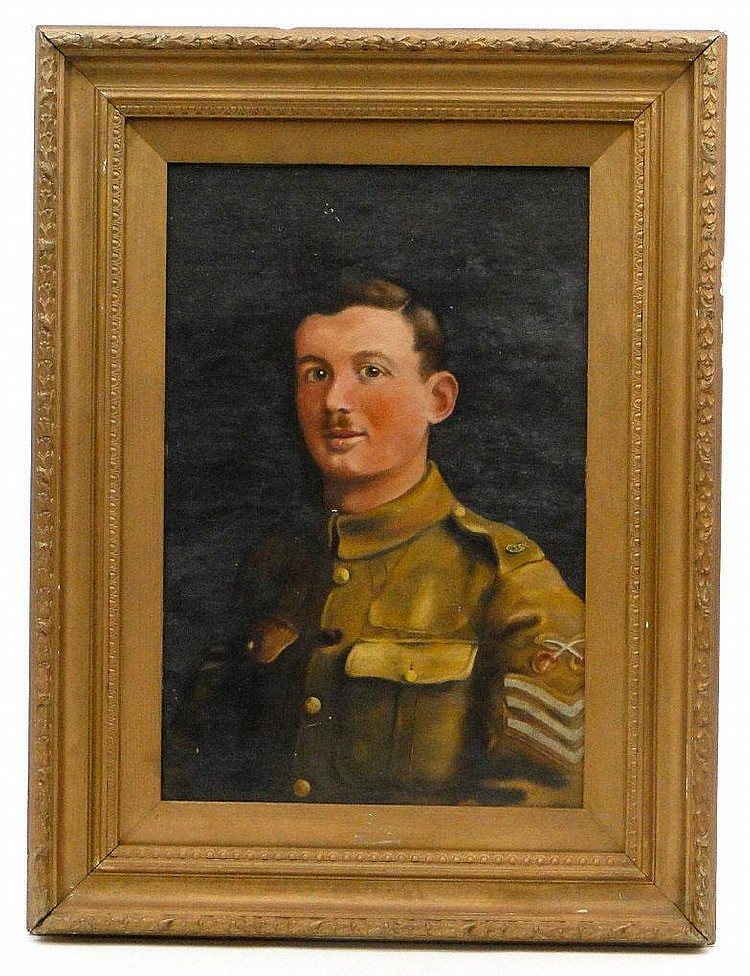Arthur Ellis 1922 - Oil onto board portrait of a British military soldier