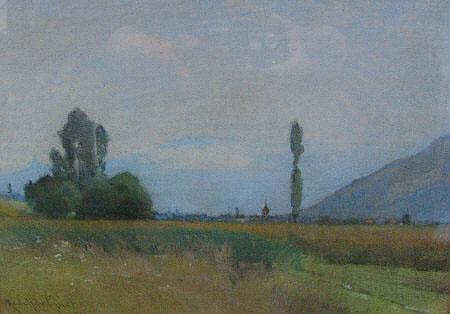 Rodolphe Piguet 1921 - Pastel landscape of fields,