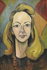 Doris Vaughan - Oil onto board self portrait,