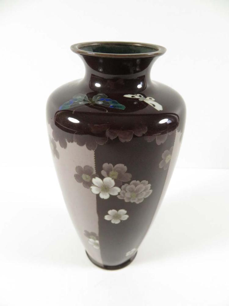 Japanese cloisonne vase flowers butterflies for Asian antiques west palm beach