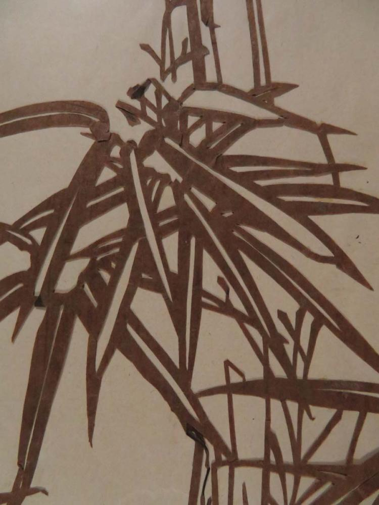 Japanese kimono stencil katagami tree leaves for Asian antiques west palm beach