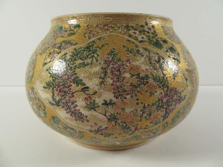 Japanese taizan satsuma jar birds flowers for Asian antiques west palm beach