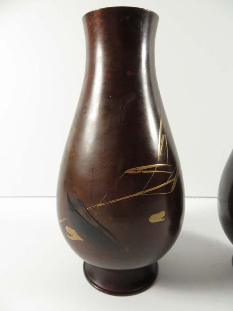 Pr japanese mixed metal vases for Asian antiques west palm beach