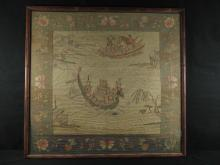 Chinese H/C Embroidered Panel Scene With Boats