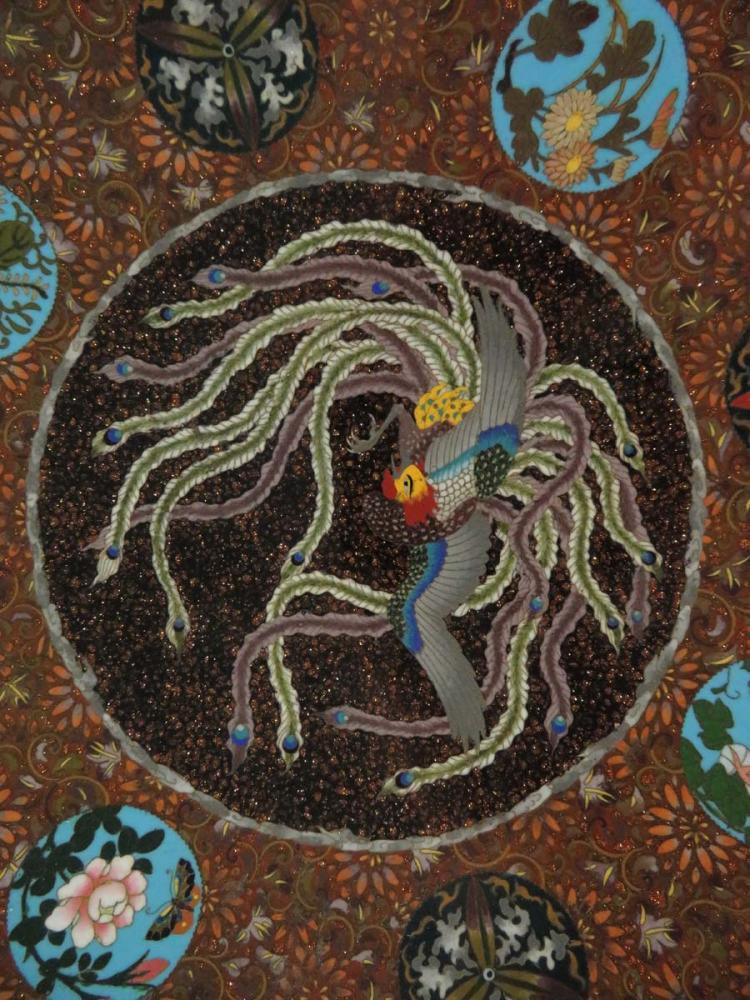Japanese cloisonne platter phoenix flowers for Asian antiques west palm beach