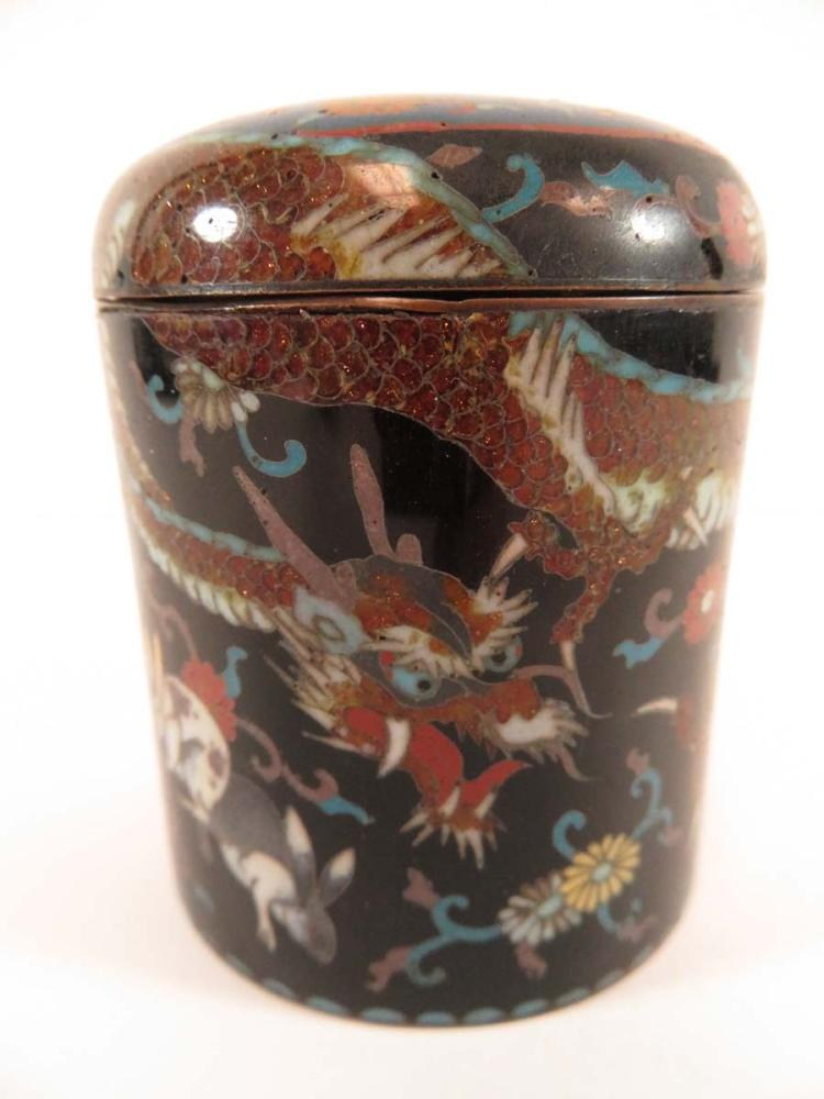Japanese cloisonne small lidded dragon rabbit jar for Asian antiques west palm beach