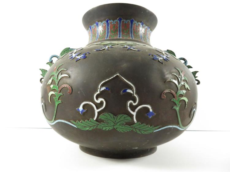 Chinese bronze champleve floral planter for Asian antiques west palm beach