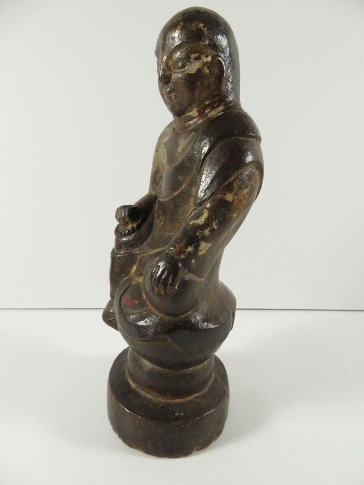 Chinese polychrome stone sculpture buddha