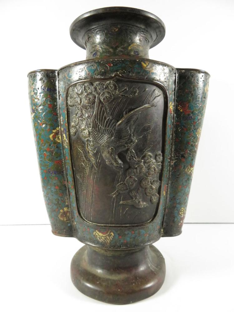 Chinese champleve mixed metal vase birds for Asian antiques west palm beach