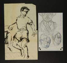 Lot of 2 Unsigned Modernist Drawings