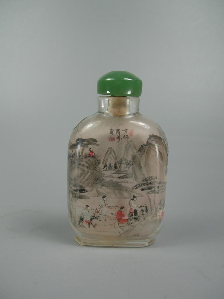 Antique inside painted glass snuff bottle Painting old glass bottles