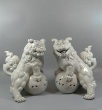 Pair of Large Japanese Blanc De Chine Foo-Dogs / Lions