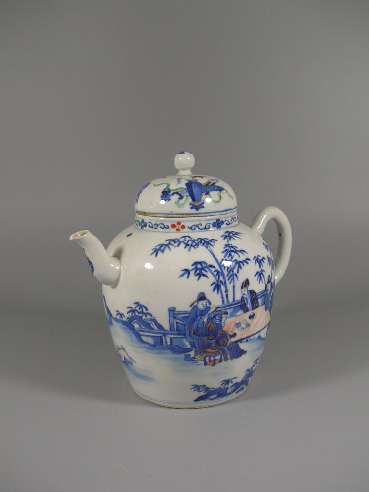Unique Antique Underglaze Blue And Famille Rose Teapot