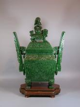 Rare and Unusual Large Carved Spinach Jade Incense Burner