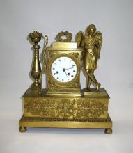 French Charles X Gilt Bronze Dore Figural Mantel Clock