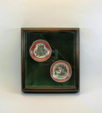 Two Asian Miniature Dish Paintings Framed