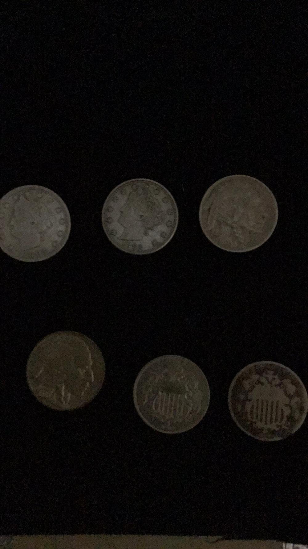 Six silver Nickels