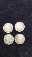 Lot 13: Four half dimes