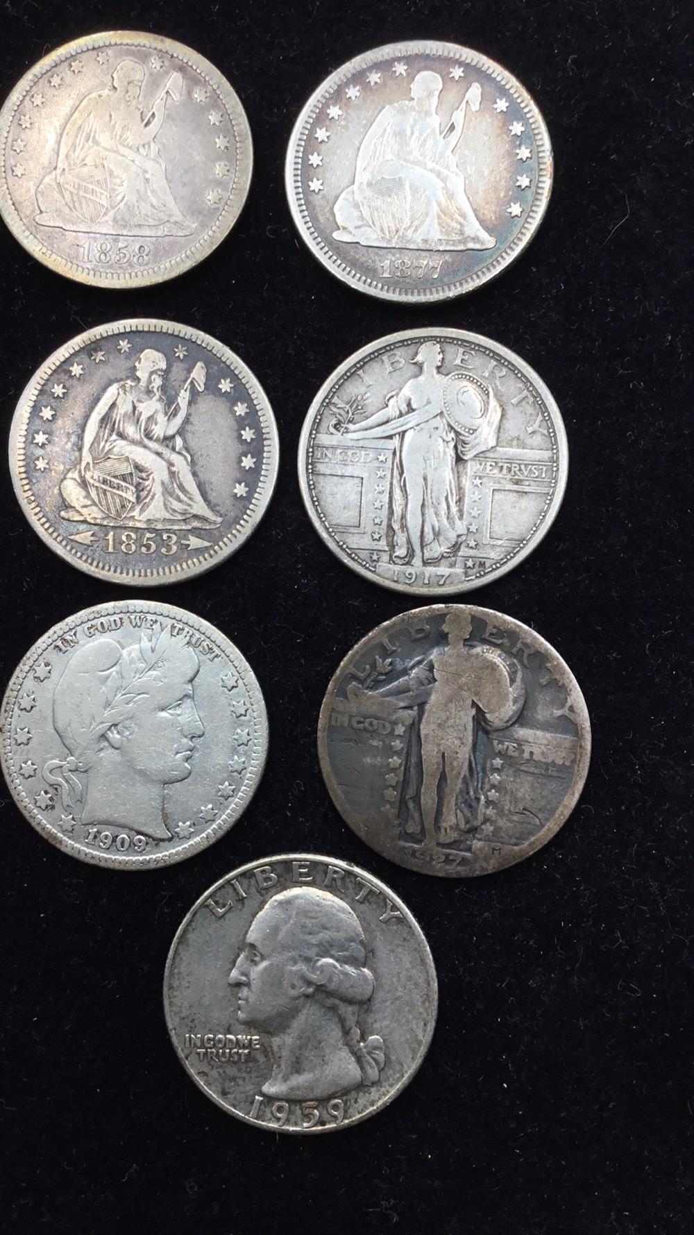 Seven silver quarters