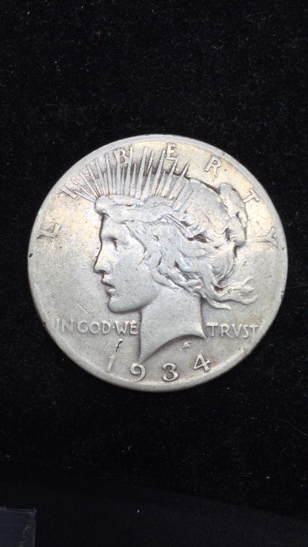 Lot 35: 1934S peace dollar