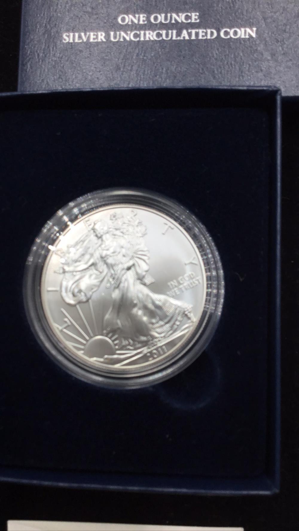 Lot 50: American eagle 1 ounce silver dollar uncirculated