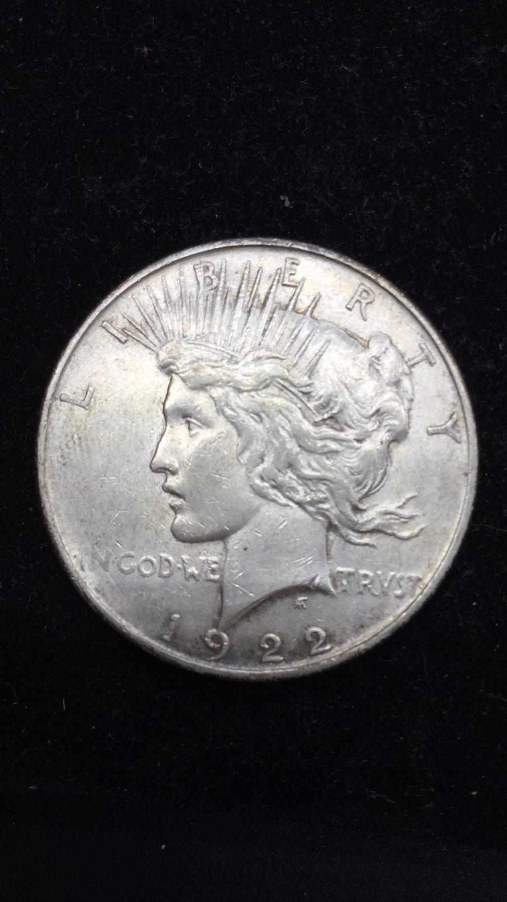 Lot 55: 1922d peace Dollar