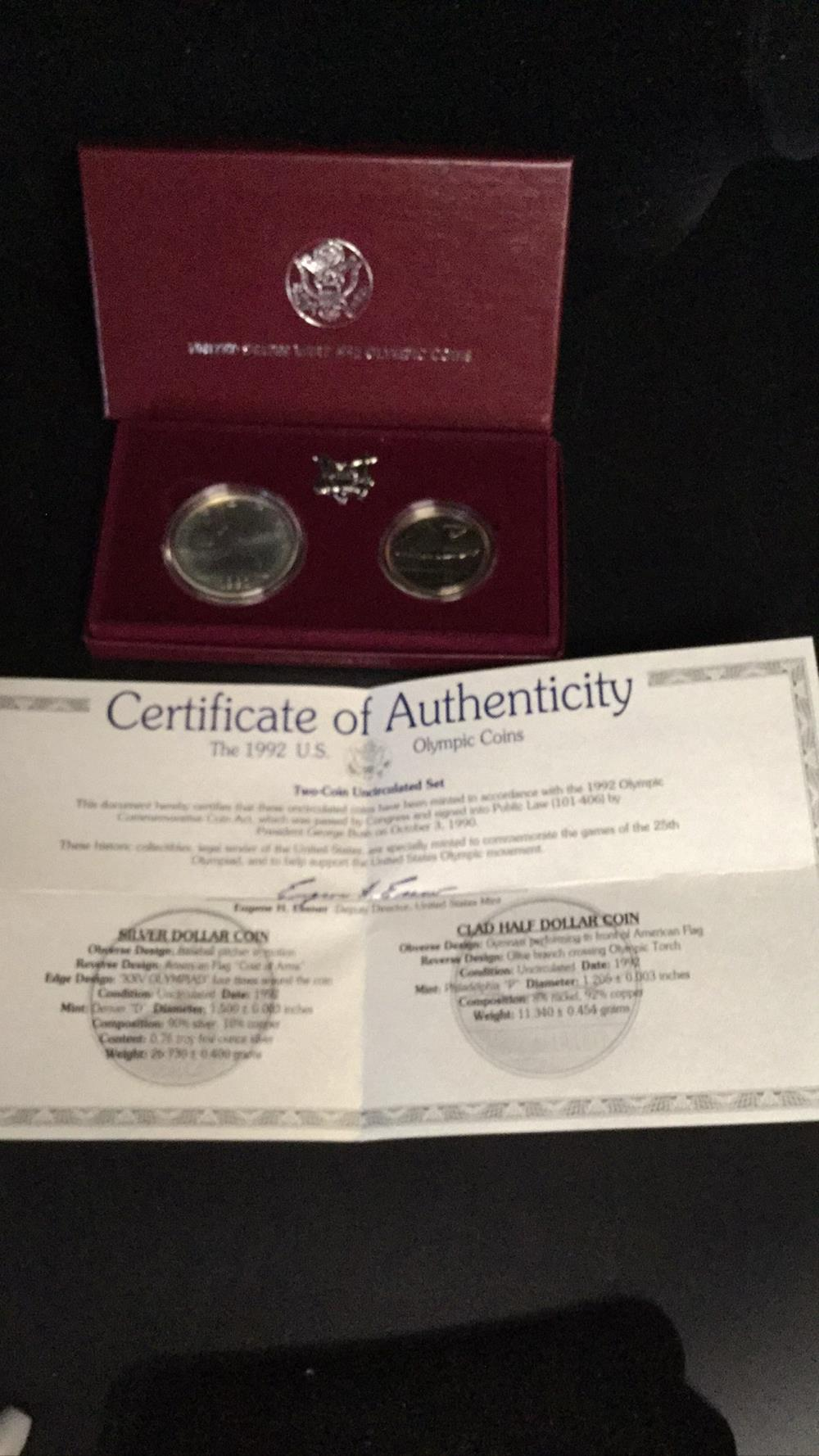 Lot 65: The 1992 us olympic coins
