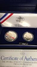 Lot 71: United States mint bill of rights coins