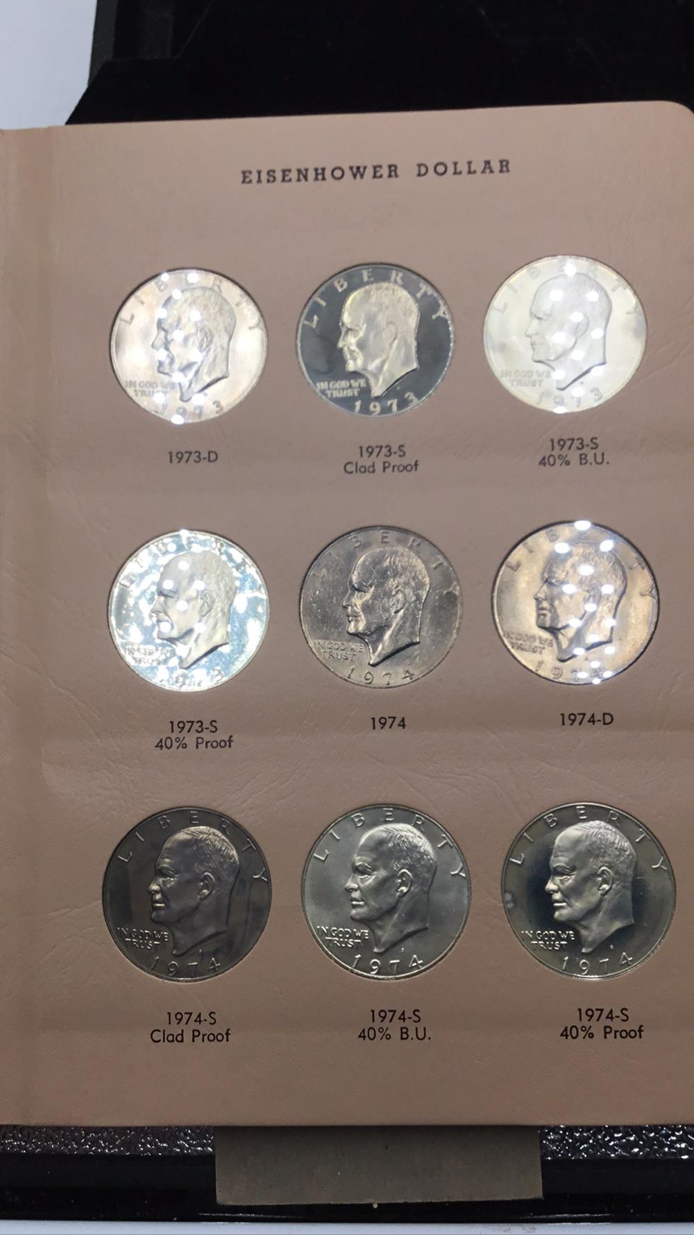 Nine Eisenhower dollars