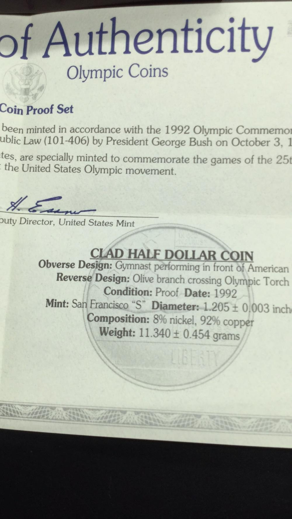 Lot 99: 1992 US Olympic Two coin set