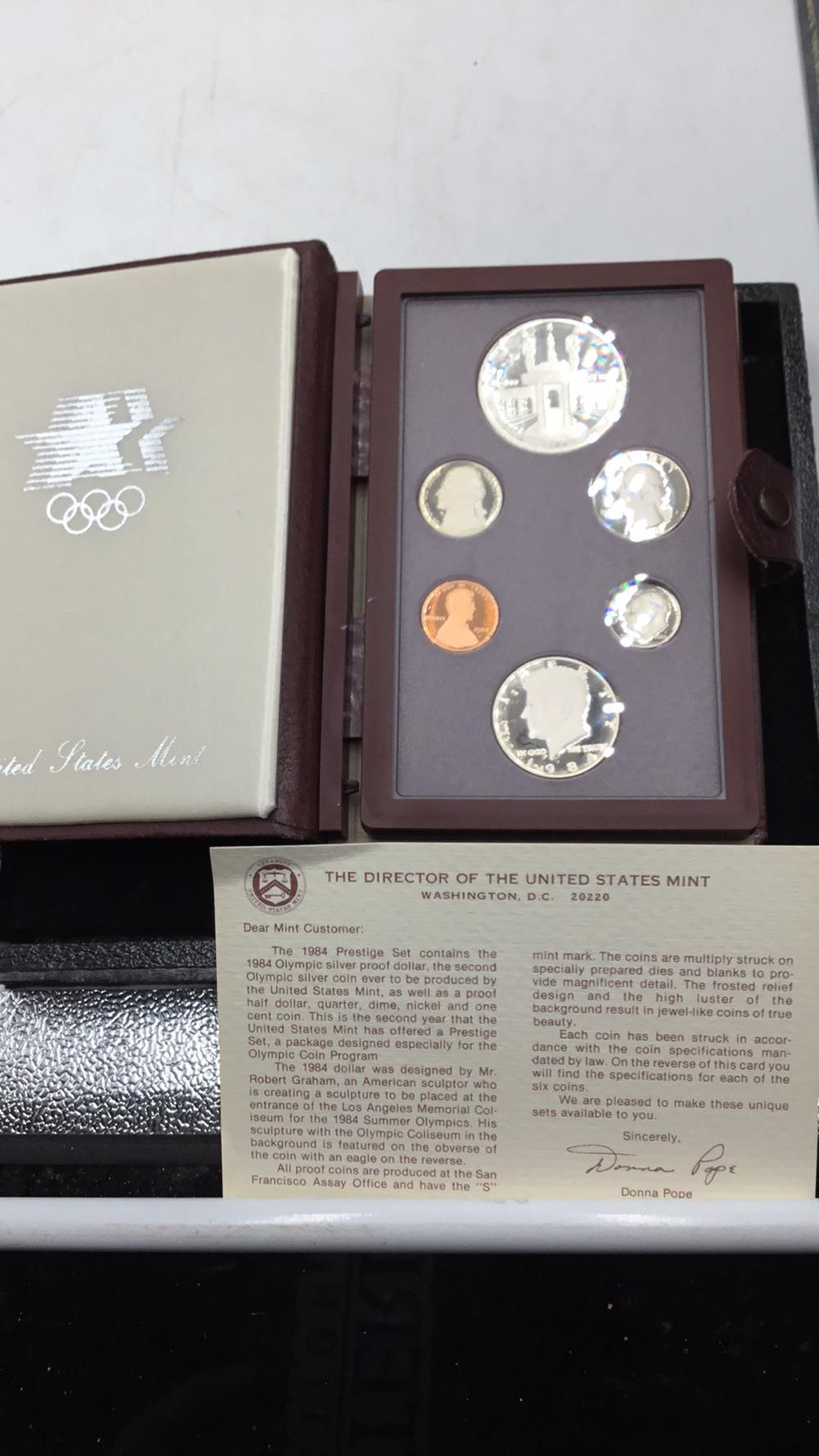 United States mint Olympic silver proof dollar set