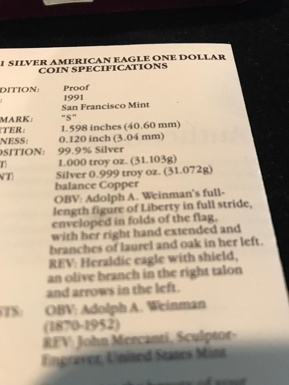 Lot 152: 1991 silver American eagle 99.9 silver one troy