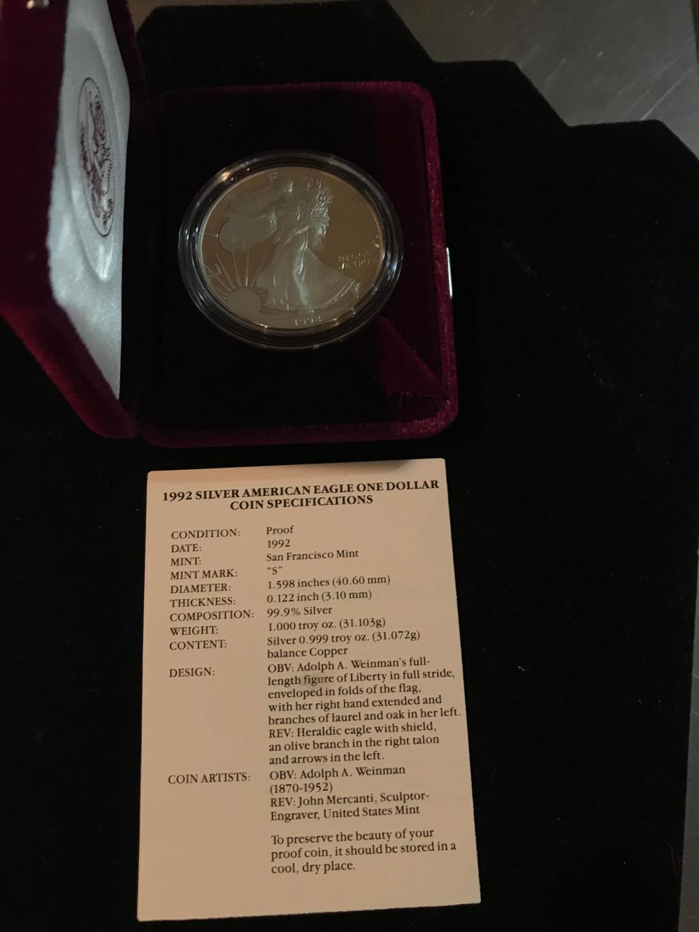 1992 silver American eagle one dollar coin proof