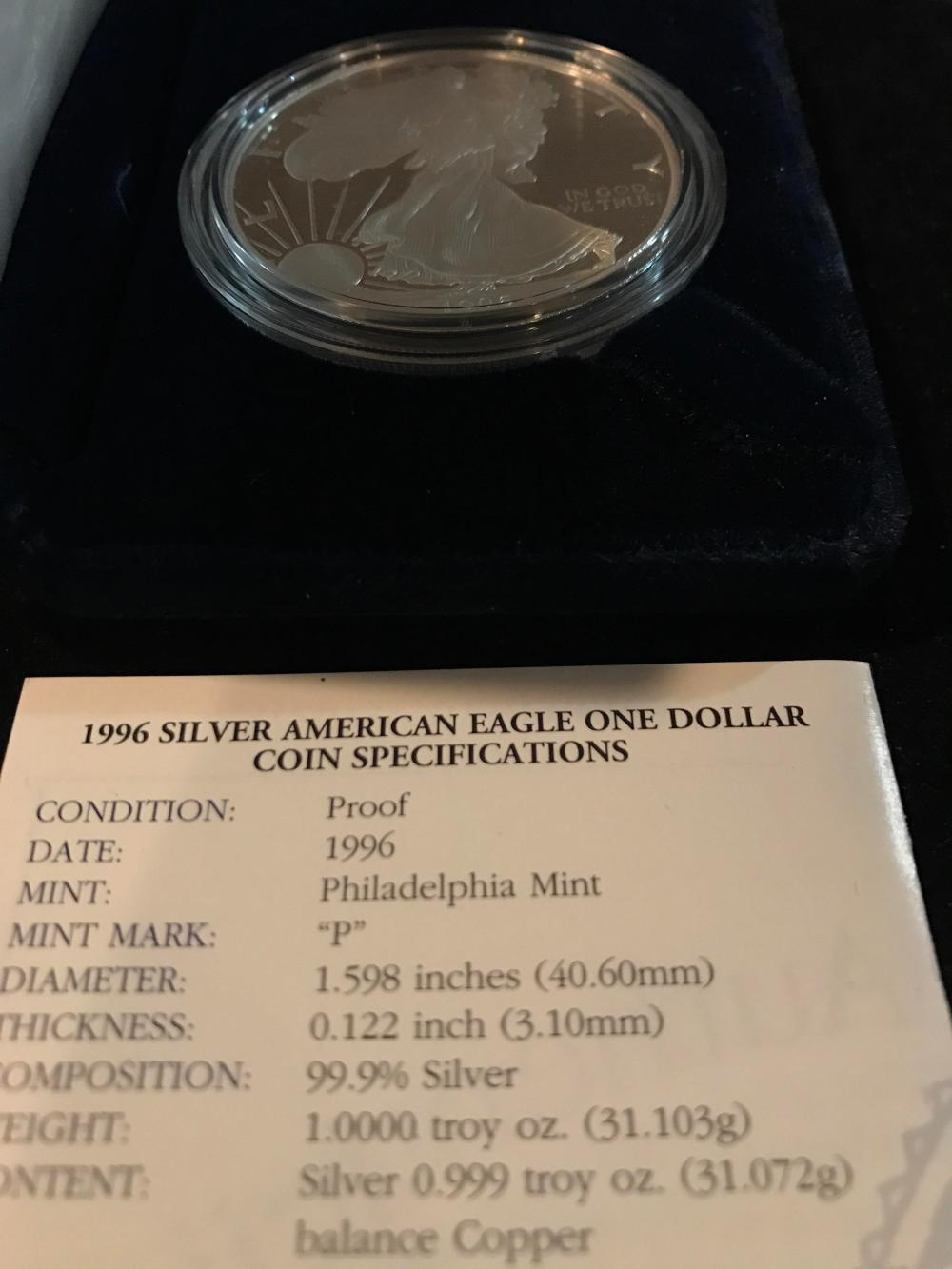 Lot 157: 1996 silver American eagle one dollar coin mint
