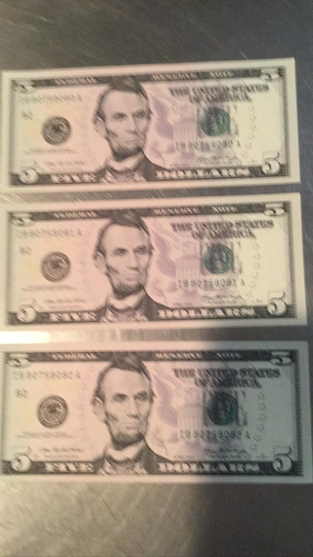 Three 5 Dollar Bills Federal Reserve Notes
