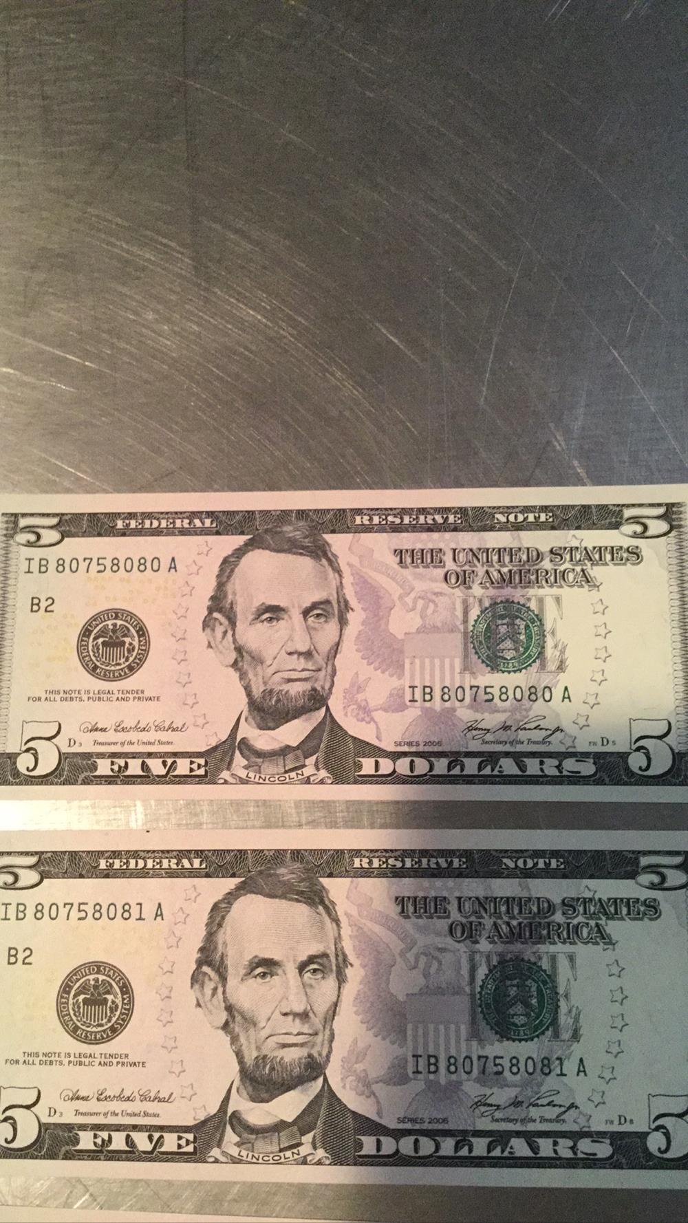 Lot 173: Three 5 Dollar Bills Federal Reserve Notes