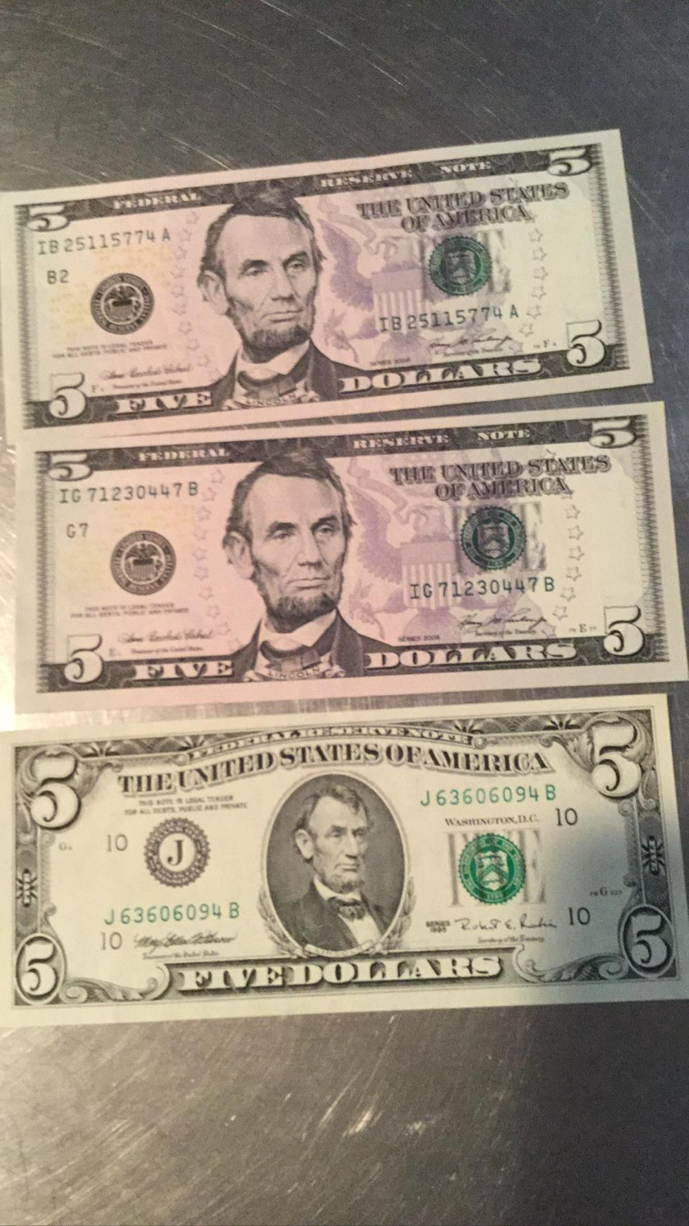 Three 5 Dollar Bills
