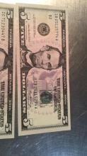 Lot 175: Three 5 Dollar Bills