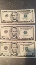 Lot 177: Three 5 Dollars Bills